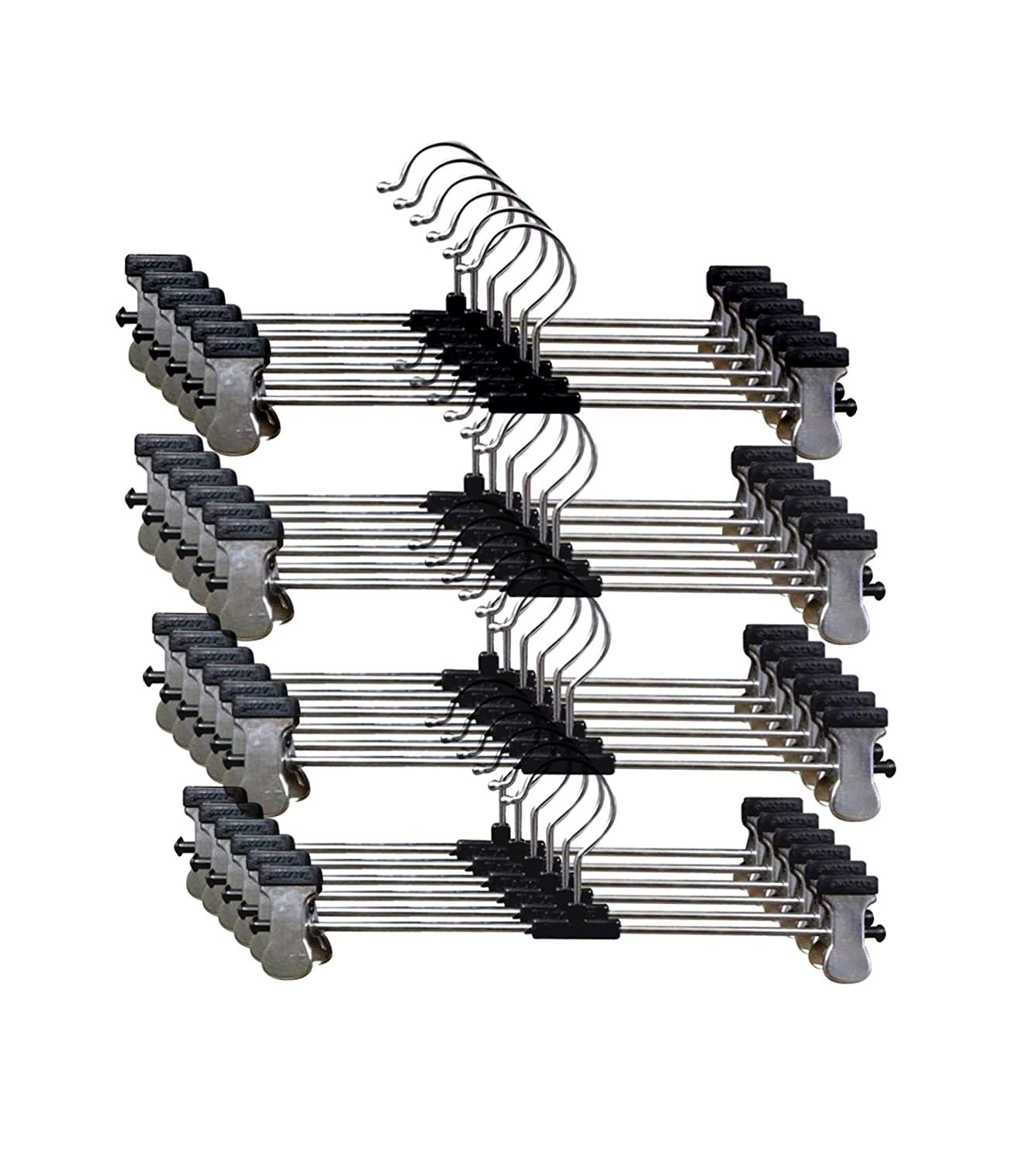 Stainless Steel Hangers Pack Of 24 Adjustable Non Slip Clips